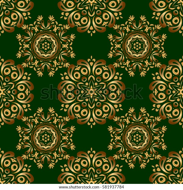 Luxury floral seamless pattern, button-tufted texture, ornate elements in vintage style. Elegant golden ornament with gold stars, filigree decor on ornate green background.
