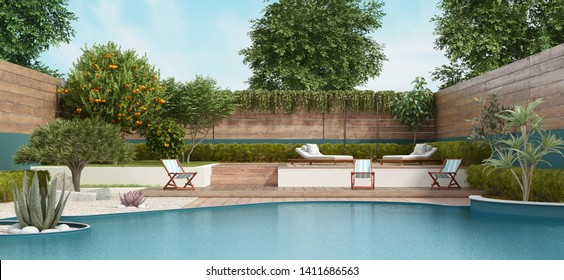 Luxury garden on two levels with large pool and lush vegetation - 3d rendering