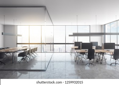 Luxury glass office interior with panoramic city view, furniture and daylight. 3D Rendering