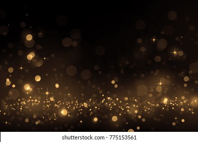 Luxury gold bokeh on black background for decoration