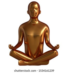 Luxury gold man statue yoga lotus pose stylized solid figure. Human mental recreation person character metallic. Peaceful calm spirit nirvana harmony symbol. 3d rendering