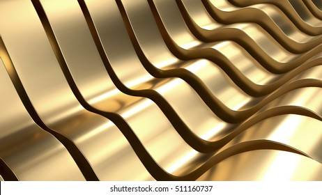 Luxury Gold Wave Abstract Background 3D Rendering