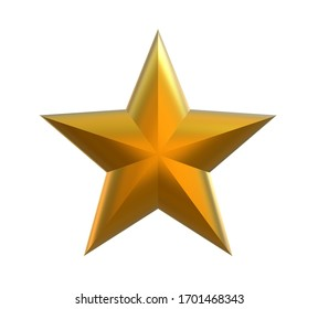 Luxury golden star. Star on white background. Christmas star. Three-dimensional star. Icon. 3d illustration.