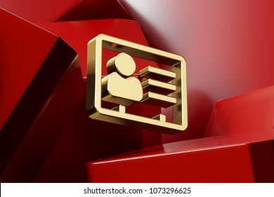 Luxury Golden Vcard Icon With the Red Glossy Boxes. 3D Illustration of Fine Golden v Card, v Card, Vcard, Vcard File, Vcard File Icon Set on the Red Geometric Background.
