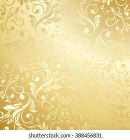 Luxury golden wallpaper. Vintage Floral pattern background.
