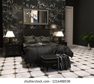 Luxury goth bedroom interior in black and white 3d render