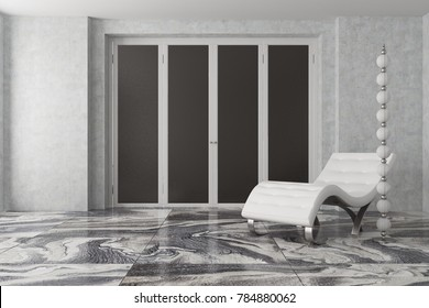 Luxury gray living room interior with gray walls, a marble floor, a gray and black closet and a white armchair standing next to an original lamp. 3d rendering mock up