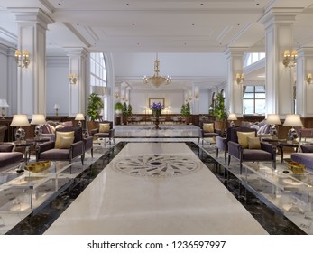 Luxury hallway reception in classic hotel interior. 3d rendering