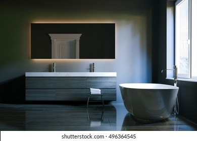 Luxury hi-tech bathroom with big mirror and window. 3d render