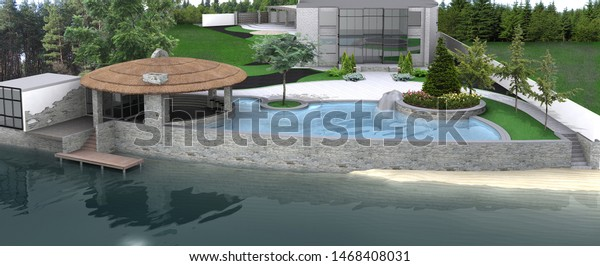 Luxury Holiday Villa Landscaping By Lakefront Stock Illustration