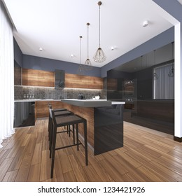 Luxury home interior beautiful kitchen with custom black and wood shaker cabinets, endless marble topped island with brown leather stools over wide planked hardwood floor. 3d rendering