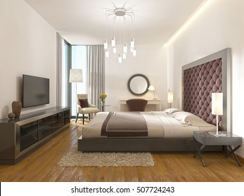 A luxury hotel room in art Deco. With a large bed, dressing table and TV unit. 3D render.