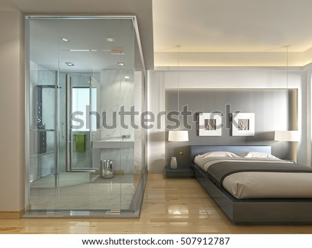 luxury hotel room contemporary design glassのイラスト素材 507912787