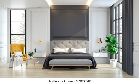 Luxury house.  interior of Bedroom  ,3d rendering