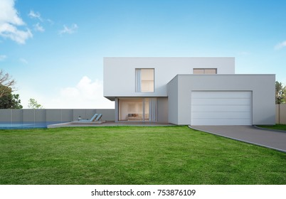 Luxury house with swimming pool and terrace near lawn in modern design, Empty front yard at vacation home or holiday villa for big family - 3d illustration of new residential building exterior