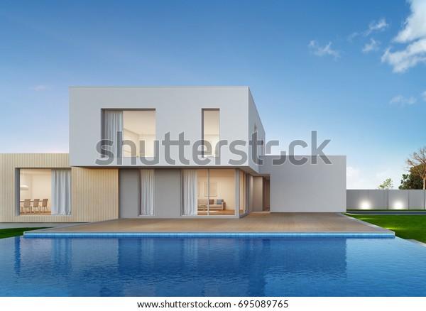 Ilustración De Stock Sobre Casa De Lujo Con Piscina Y 695089765