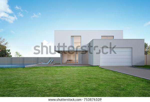 Illustration de stock de Maison de luxe avec piscine et ...