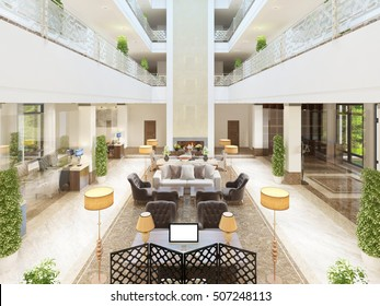 Luxury interior design lounge area of the hotel. Expensive upholstered furniture with tables and floors with hotel rooms. 3D render.