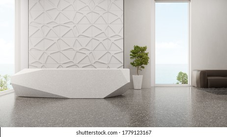 Luxury interior design of modern showroom with terrazzo floor and empty white tile wall background. Polygonal shape counter in sea view entrance hall or lobby 3d illustration.