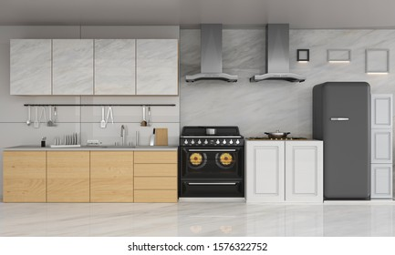 luxury kitchen interior 3d rendering