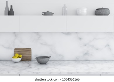 Luxury kitchen interior with white marble walls and white countertops. A close up. 3d rendering mock up