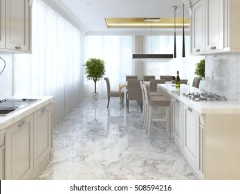 Luxury kitchen with opaline furniture in art Deco style. With Breakfast bar and bar stools. Built-in kitchen appliances. 3D render.