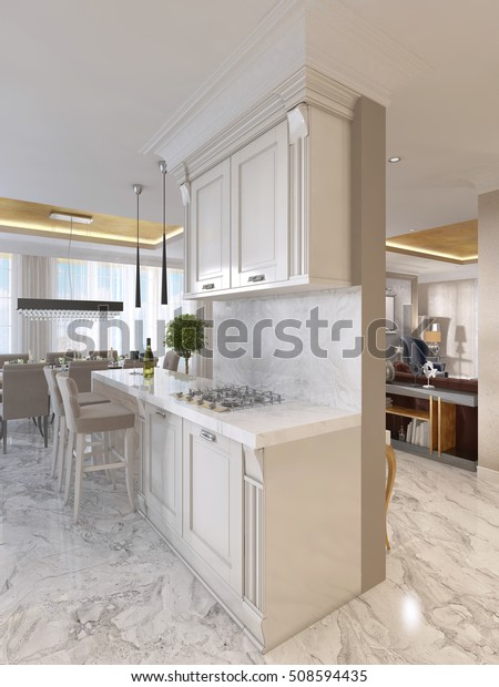 Luxury Kitchen Opaline Furniture Art Deco Stockillustration 508594435