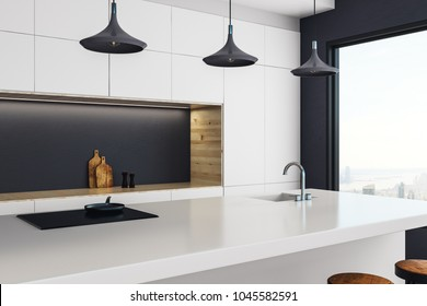 Luxury kitchen studio interior with panoramic New York city view and daylight. 3D Rendering