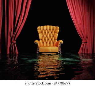 luxury leather armchair and red curtain in flooding  interior (3D)
