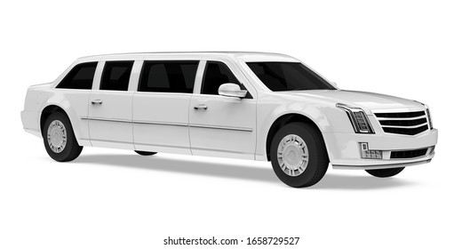 Luxury Limousine Car Isolated. 3D rendering