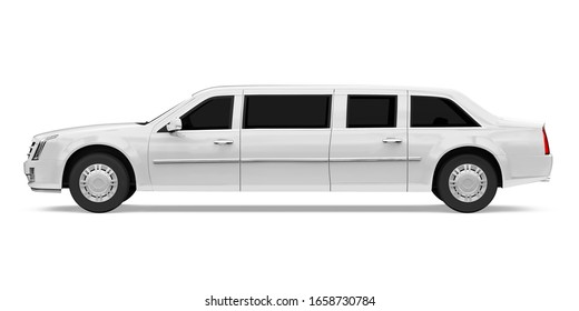 Luxury Limousine Car Isolated (side view). 3D rendering