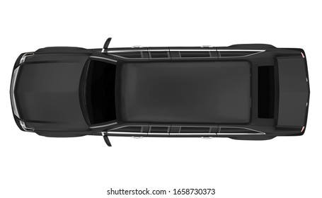 Luxury Limousine Car Isolated (top view). 3D rendering