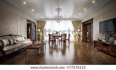 Luxury Living Room Interior Design In Classic Style. 3d Rendering .