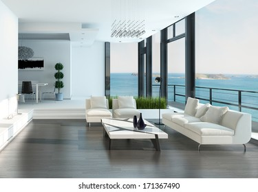 Luxury living room interior with white couch and seascape view