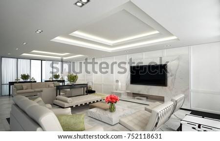 Luxury Living Room Interiors Design White Stock Illustration Simple Luxury Living Room Design Model