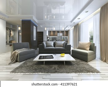 Luxury living room studio in a modern style with comfortable armchairs and a sofa in olive green. Apartment with kitchen and hallway with cloakroom. 3D render.