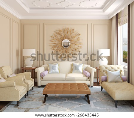 Luxury Livingroom | Luxury Livingroom Interior 3 D Render Photo Stock Illustration