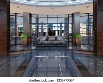 Luxury lobby entrance with lounge area in hotel. 3D Rendering
