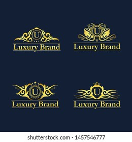 Luxury Logo set letter U with Heraldic crests and Flourishes Calligraphic Monogram design