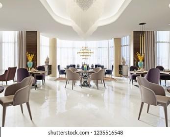 luxury lounge bar interior. 3d rendering