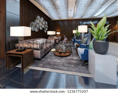 Luxury Lounge Entrance Area In Hotel With Leather Sofa And Fabric Armchair Designer White Cabinets