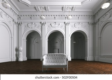 Luxury mansion villa interior with columns. White leather sofa. 3d render