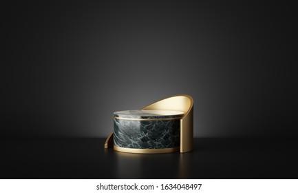 luxury marble geometric podium in dark black background. 3d rendering - illustration.