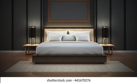 Luxury Master Bedroom in hotel / 3D rendering interior