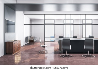 Luxury meeting room interior with empty tv screen and panoramic city view with sunlight. 3D Rendering