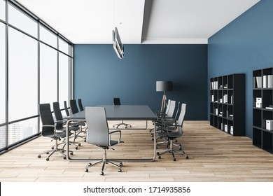 Luxury meeting room with panoramic city view and  daylight. Presentation and corporate concept. 3D Rendering