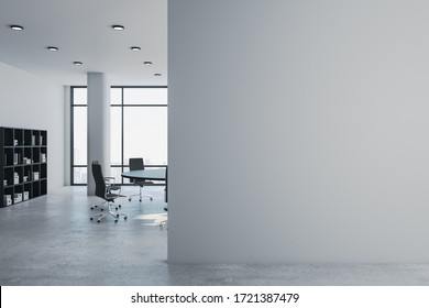 Luxury meeting room with panoramic city view and  blank gray wall. Presentation and corporate concept. 3D Rendering