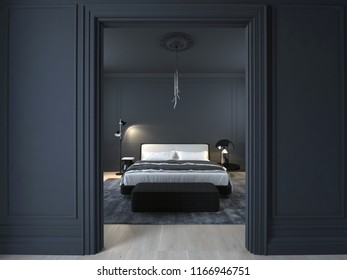 Luxury minimal black bedroom with wood floor and stucco. 3D illustration