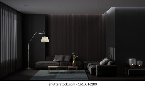Luxury minimal living room with parquet floor, concrete wall and wooden panel, large sofa with pillows, carpet and coffee table. Dark gray colors. Contemporary interior design, 3d illustration