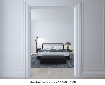 Luxury minimal white bedroom with wood floor and stucco. 3D illustration